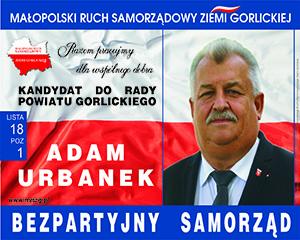 Adam Urbanek kandydat do Rady Powiatu Gorlickiego